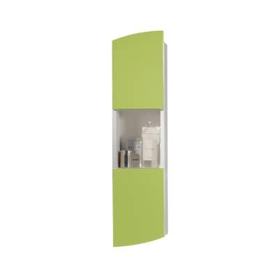 Pensile Soft 2 ante L 24 x P 18 x H 100 cm struttura lucido bianco e frontali verde acido laccato
