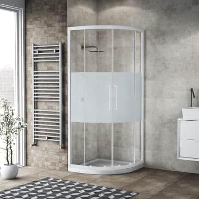 Box doccia semicircolare scorrevole 90 x 90 cm, H 195 cm in vetro, spessore 6 mm serigrafato bianco
