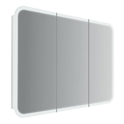 Specchio contenitore con luce Liverpool L 95 x H 70 cm bianco