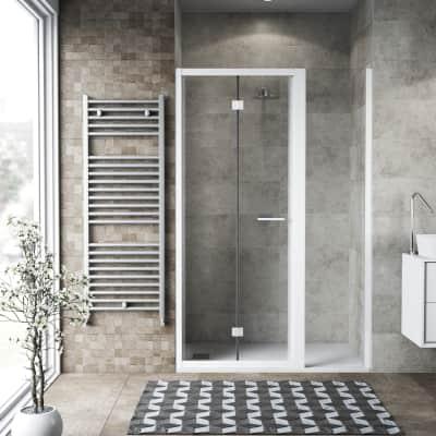 Box doccia pieghevole 75 x , H 195 cm in vetro, spessore 6 mm trasparente bianco