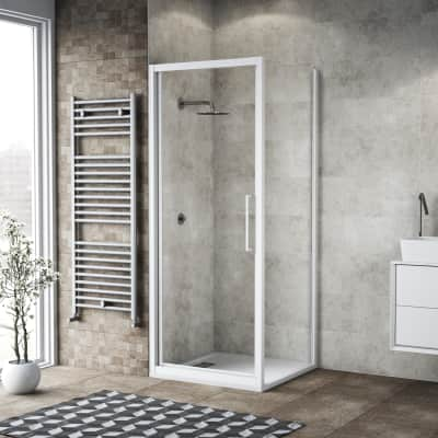 Box doccia battente 95 x 80 cm, H 195 cm in vetro, spessore 6 mm trasparente bianco