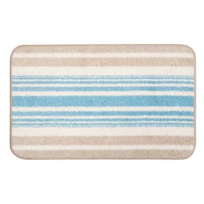 Tappeto bagno rettangolare in cotone azzurro 80 x 55 cm