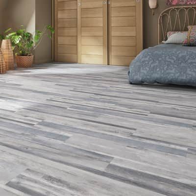 Pavimento PVC flottante clic+ Ocean blue Sp 4.2 mm grigio / argento