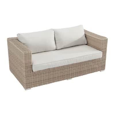 Divano da giardino con cuscino 2 posti in alluminio Costarica NATERIAL colore naturale