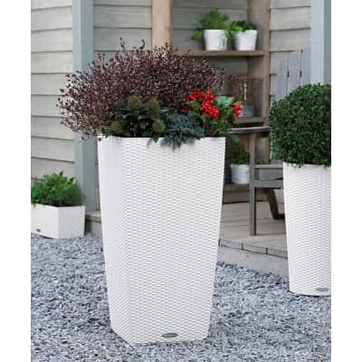 Vaso Cubico Cottage LECHUZA in plastica bianco H 56 , L 30 X P 30 cm  Ø 20 cm