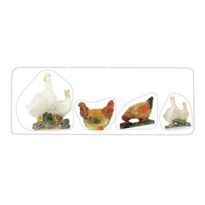 Confezione animali in resina 4 pezzi H 4 cm