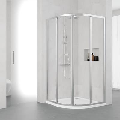 Box doccia semicircolare scorrevole 80 x 80 cm, H 195 cm in alluminio e vetro, spessore 4 mm trasparente argento