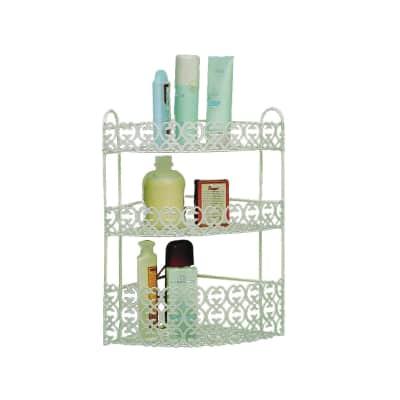 Angolare cabina doccia e box doccia con decoro 3 ripiani bianco