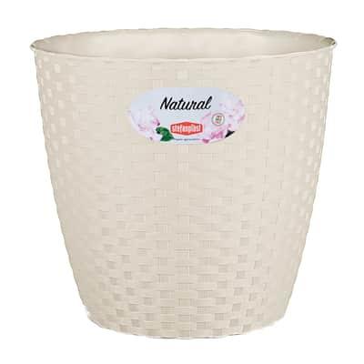 Vaso Natural STEFANPLAST in plastica colore travertino H 22.2 cm, Ø 24 cm
