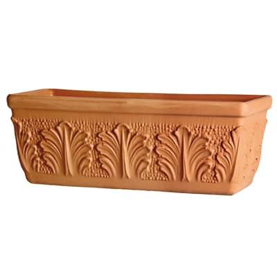 Fioriera Roma in terracotta colore cotto H 19 cm, L 42 x P 16.8 cm Ø 40 cm