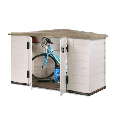 Baule da esterno GAROFALO Box Evo 200 in resina struttura beige con tetto marrone  202.5 x 82.5 cm