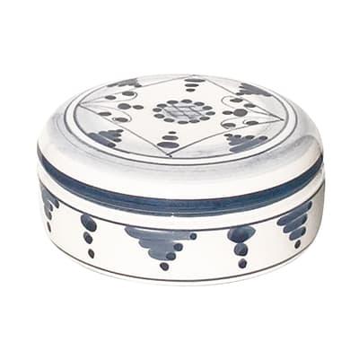 Porta cotone basso tribù in ceramica blu' antico indaco
