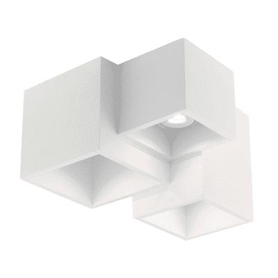 Plafoniera design Foster bianco, in gesso, 3  luci