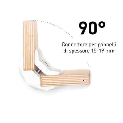 Sistema di assemblaggio playwood 90° pvc  4 pezzi , bianco