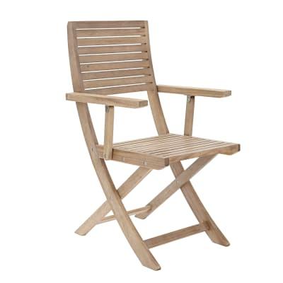 Sedia con braccioli senza cuscino pieghevole in legno Solaris NATERIAL colore naturale