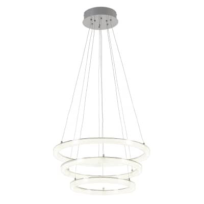 Lampadario Neoclassico Shokia LED integrato bianco, cromo, in metallo, D. 60 cm, 3 luci, INSPIRE