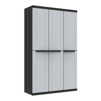 Armadio C_Line L 102 x P 39 x H 166.5 cm grigio e nero