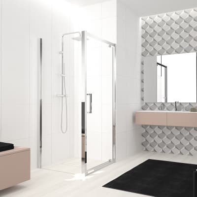 Box doccia angolare con porta a battente e lato fisso quadrato Lead 90 x 90 cm, H 200 cm in vetro temprato, spessore 8 mm trasparente cromato