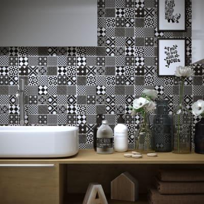Mosaico Cementine Nera H 30 x L 30 cm nero/bianco