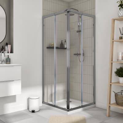 Box doccia quadrato scorrevole Essential 80 x 80 cm, H 185 cm in vetro temprato, spessore 4 mm trasparente cromato