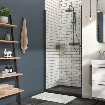 Porta doccia battente Remix 100 cm, H 195 cm in vetro, spessore 8 mm trasparente nero