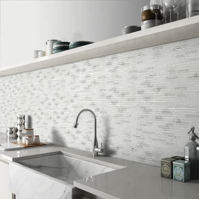 Mosaico Snow Craquele H 30 x L 30 cm bianco
