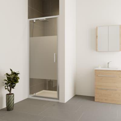 Porta doccia battente Verve 90 cm, H 190 cm in vetro temprato, spessore 6 mm trasparente cromato