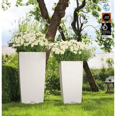 Vaso Cubico Cottage LECHUZA in plastica colore Bianco H 75 cm, L 40 x P 40 cm
