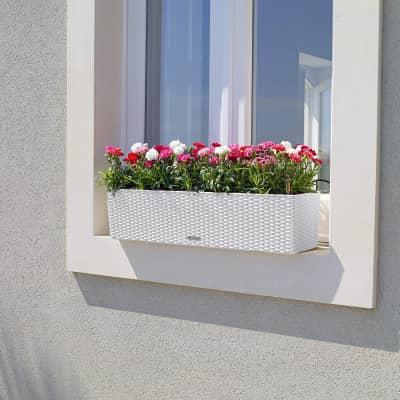 Vaso da fiori con riserva d'acqua bianco rettangolare 79 x 19 cm