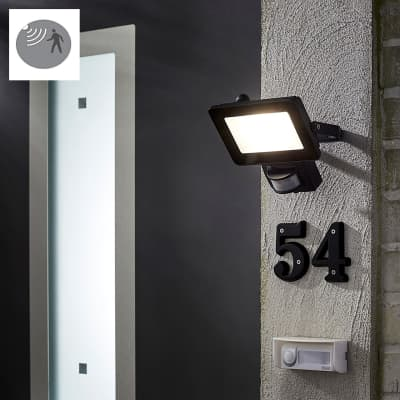 Proiettore LED integrato con sensore di movimento Yonkers in alluminio, antracite, 20W 1800LM IP44 INSPIRE