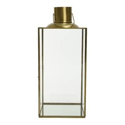 Lanterna in acciaio oro H 42 cm,Ø 17 cm