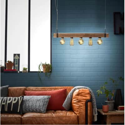 Lampadario Industriale Woodhill marrone in metallo, D. 80 cm, L. 80 cm, 5 luci, BRILLIANT
