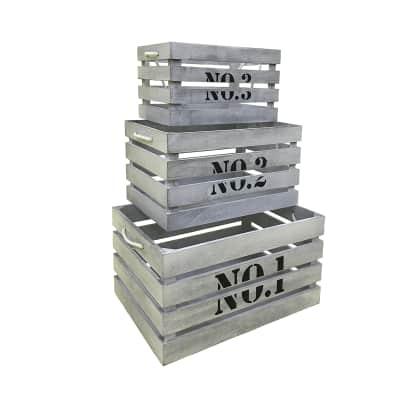 Set di 3 pezzi, Contenitore L 41 x H 22 x P 30 cm bianco grigio shabby