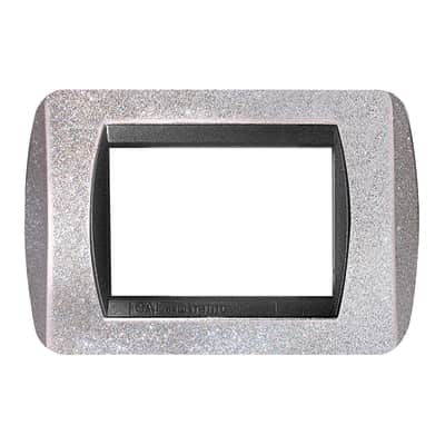 Placca CAL Living light 3 moduli argento glitter compatibile con living international