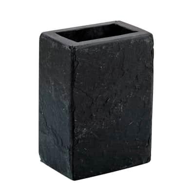 Bicchiere porta spazzolini Black stone in pietra nero
