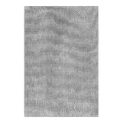 Tappeto bagno rettangolare Fluffy in poliestere grigio 80 x 50 cm