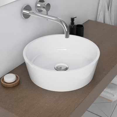 Lavabo da appoggio rotondo Bari in resina Ø 38 x H 12 cm bianco