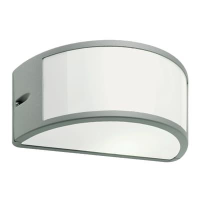Applique Umbein alluminio, bianco e grigio, E27 MAX60W IP54