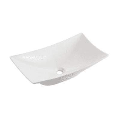 Lavabo da appoggio Rettangolare New Magdalena in ceramica L 57.5 x P 32.5 x H 16 cm bianco