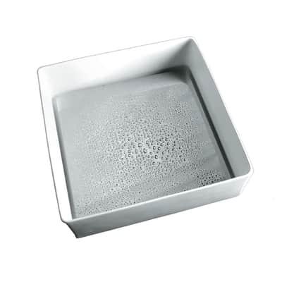 Lavabo da appoggio quadrato Trabocchetto in resina L 40 x P 40 x H 13 cm bianco