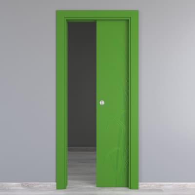 Porta scorrevole a scomparsa Blades Green verde L 80 x H 210 cm reversibile