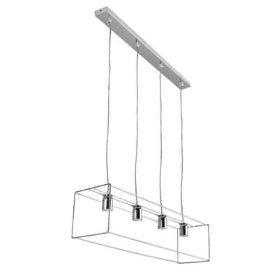 Lampadario Moderno Corte cromo in metallo, L. 80 cm, 4 luci, NOVECENTO