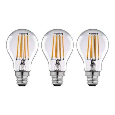 Lampadina Filamento LED E27 standard bianco caldo 12W = 1521LM (equiv 100W) 360° LEXMAN, 3 pezzi