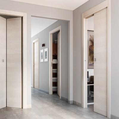 Porta da interno scorrevole grain rovere grano 80 x h 210 cm reversibile prezzi e offerte online - Porte interno leroy merlin ...