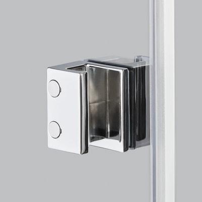 Doccia con porta battente e lato fisso Neo 81 - 83 x 77 - 79 cm, H 200 cm vetro temperato 6 mm serigrafato/bianco opaco