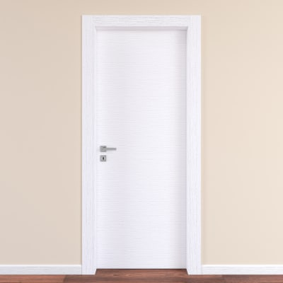Porta da interno battente Plaza Frassino bianco 80 x H 210 cm reversibile