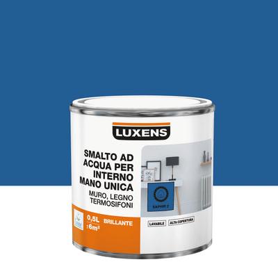 Smalto manounica Luxens all'acqua Blu Zaffiro 2 brillante 0.5 L