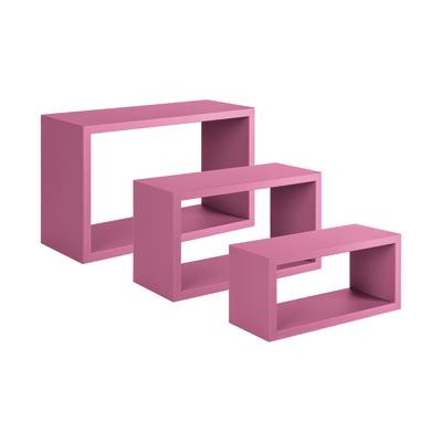 Set 3 rettangoli Spaceo rosa, sp 1,8 cm