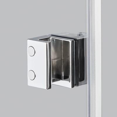 Doccia con porta battente e lato fisso Neo 71 - 73 x 77 - 79 cm, H 200 cm vetro temperato 6 mm trasparente/nero