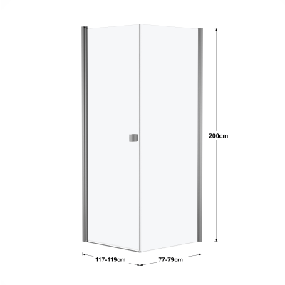 Doccia con porta battente e lato fisso Neo 77 - 79 x 77 - 79 cm, H 200 cm vetro temperato 6 mm silver